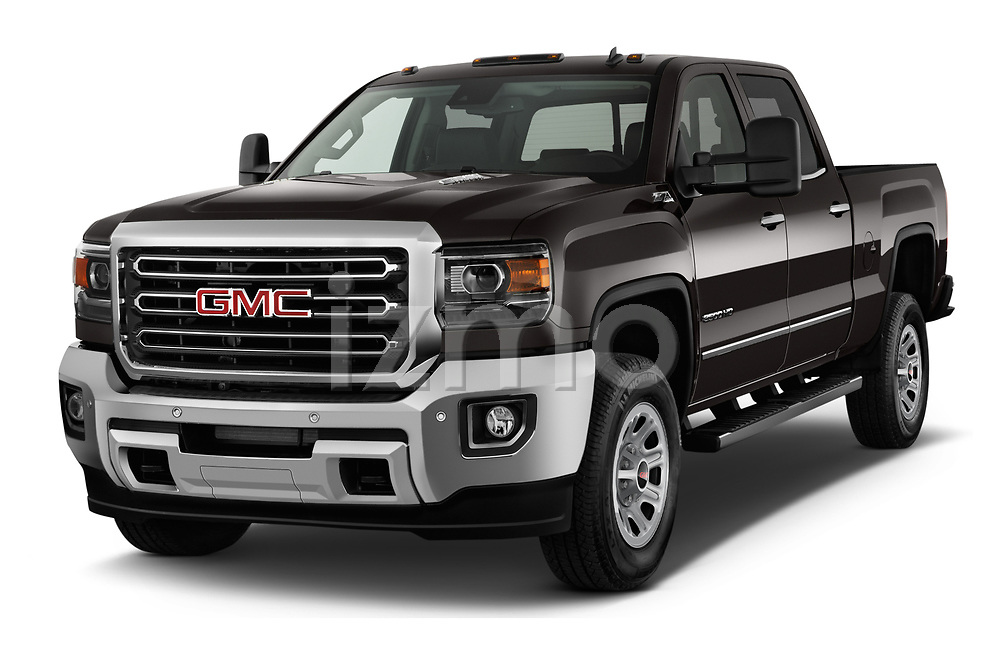 2018 GMC Sierra 3500HD 2WD Crew Cab Standard Box SLT 4 Door Pick Up angular front stock photos of front three quarter view