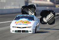 Feb 7, 2020; Pomona, CA, USA; NHRA pro stock driver Matt Hartford during qualifying for the Winternationals at Auto Club Raceway at Pomona. Mandatory Credit: Mark J. Rebilas-USA TODAY Sports