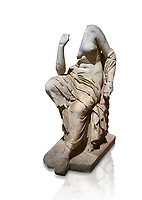 Roman statue of a seated woman . Marble. Perge. 2nd century AD. Inv no 17.7. . Antalya Archaeology Museum; Turkey. Against a white background.