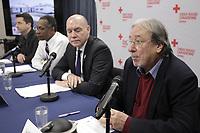 Conference de presse de la croix rouge. le 8janvier 2015.<br /> Lucien Albert (D)<br /> <br /> PHOTO : Agence Quebec Presse