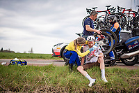 Bob Jungels (LUX/AG2R Citroën) was involved in a crash at the back of the peloton and sustained a cut above his eye.<br /> <br /> 55th Amstel Gold Race 2021 (1.UWT)<br /> 1 day race from Valkenburg to Berg en Terblijt; raced on closed circuit (NED/217km)<br /> <br /> ©kramon