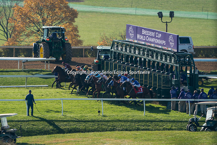 November 6, 2020: Horses race during the Juvenile Turf Sprint on Breeders' Cup Championship Friday at Keeneland on November 6, 2020: in Lexington, Kentucky. Scott Serio/Eclipse Sportswire/Breeders Cup/CSM