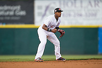 Hickory Crawdads shortstop Yeyson Yrizarri (2) on defense against the Rome Braves at L.P. Frans Stadium on May 12, 2016 in Hickory, North Carolina.  The Braves defeated the Crawdads 3-0.  (Brian Westerholt/Four Seam Images)