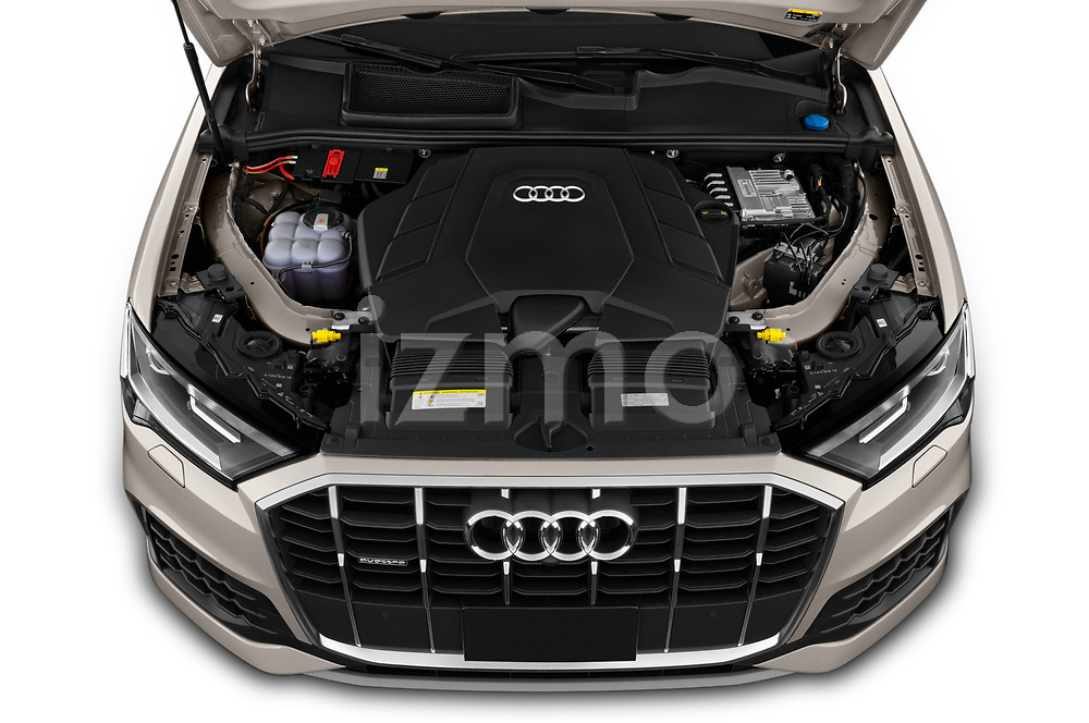 Car Stock 2020 Audi Q7 Advanced 5 Door SUV Engine  high angle detail view