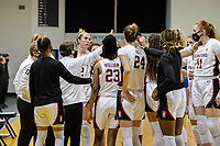 SANTA CRUZ, CA - JANUARY 22: Team time-out during the Stanford Cardinal women's basketball game vs the UCLA Bruins at Kaiser Arena on January 22, 2021 in Santa Cruz, California.