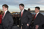 The Welsh rugby team (Alex Cuthbert in middle) arriving to celebrate winning the Grand Slam in the Six Nations rugby tournament at The Senydd in Cardiff Bay..