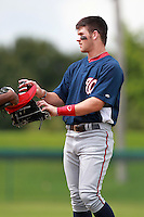 Washington Nationals minor league outfielder Bryce Harper (34) after an at bat during a game vs. the Chinese National Team in an Instructional League game at Holman Stadium in Vero Beach, Florida September 30, 2010.   Harper was selected in the first round, 1st overall, of the 2010 MLB Draft out of Southern Nevada Junior College.  Photo By Mike Janes/Four Seam Images