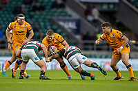 21st May 2021; Twickenham, London, England; European Rugby Challenge Cup Final, Leicester Tigers versus Montpellier; Paul Willemse of Montpellier Rugby is tackled by Tom Youngs of and Ellis Genge of Leicester Tigers