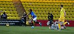 03.03.2021 Livingston v Rangers: Alfredo Morelos goes down as keeper Max Stryjek challenges