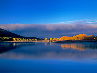749450006 a low lying cloud bank shrouds mount moran and the teton range with fall colored aspens lining the shore of the snake river at oxbow bend in grand tetons national park wyoming