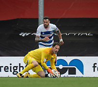 Bournemouth's Asmir Begovic (front) under pressure from Queens Park Rangers' Geoff Cameron (behind)<br /> <br /> Photographer David Horton/CameraSport<br /> <br /> The EFL Sky Bet Championship - Bournemouth v Queens Park Rangers - Saturday 17th October 2020 - Vitality Stadium - Bournemouth<br /> <br /> World Copyright © 2020 CameraSport. All rights reserved. 43 Linden Ave. Countesthorpe. Leicester. England. LE8 5PG - Tel: +44 (0) 116 277 4147 - admin@camerasport.com - www.camerasport.com