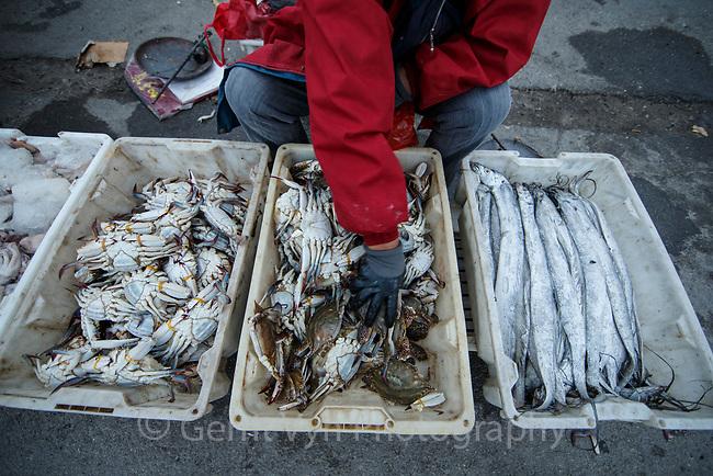 Street sellers selling fish. Rudong, China.