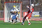 Baltimore, MD - March 3:  Midfielder Nick Tandoi #23 of the Fairfield Stags fires a shot on goal during the Fairfield v UMBC mens lacrosse game at UMBC Stadium on March 3, 2012 in Baltimore, MD.