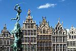 Belgium, Antwerp: Renaissance Guild Halls and Brabo Fountain in the Grote Markt