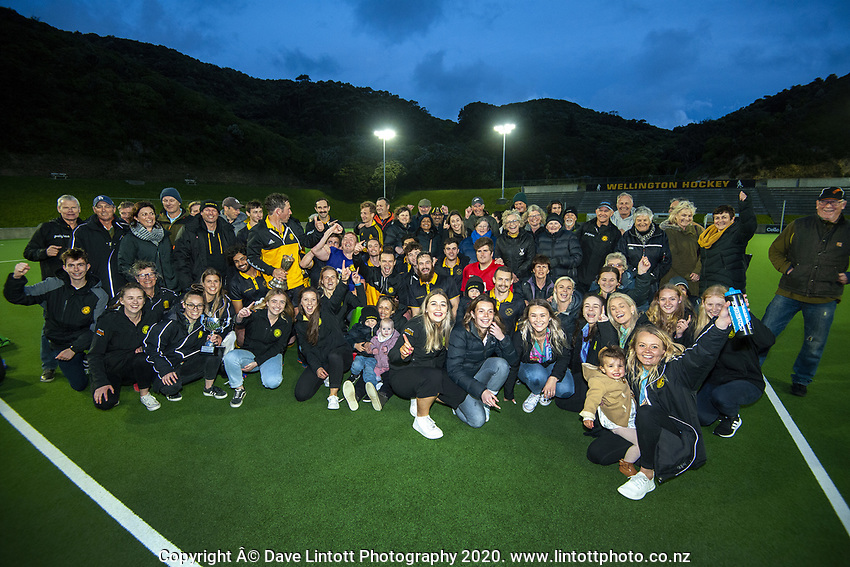 The Dalefield men's and women's teams with fans after the men's premier one Wellington Hockey final between Dalefield and Harbour City at National Hockey Stadium in Wellington, New Zealand on Saturday, 26 September 2020. Photo: Dave Lintott / lintottphoto.co.nz