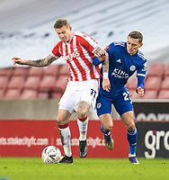 9th January 2021; Bet365 Stadium, Stoke, Staffordshire, England; English FA Cup Football, Carabao Cup, Stoke City versus Leicester City; James McClean of Stoke City under pressure from Timothy Castagne of Leicester City