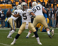 Georgia Tech quarterback Justin Thomas. The Pitt Panthers defeated the Georgia Tech Yellow Jackets 37-34 at Heinz Field in Pittsburgh, Pennsylvania on October 08, 2016.