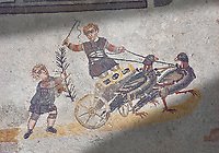 Roma children's chariot race from The Vestibule of The Smnall Circus, room no 41 - Roman mosaics at the Villa Romana del Casale,  circa the first quarter of the 4th century AD. Sicily, Italy. A UNESCO World Heritage Site.