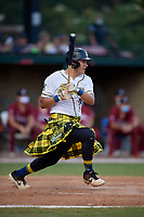 Savannah Bananas Jose Gonzalez (16) bats during a Coastal Plain League game against the Macon Bacon on July 15, 2020 at Grayson Stadium in Savannah, Georgia.  Savannah wore kilts for their St. Patrick's Day in July promotion.  (Mike Janes/Four Seam Images)