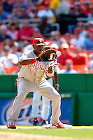 4 September 2005: Ryan Howard, first baseman for the Philadelphia Phillies, makes an out at first, during a game against the Washington Nationals. The Nationals defeated the Phillies 6-1 at RFK Stadium in Washington, DC. Mandatory Photo Credit: Ed Wolfstein.