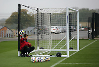 Lukasz Fabianski sits on the wheel of the nets during the Swansea City Training at The Fairwood Training Ground, Swansea, Wales, UK. Wednesday 27 September 2017