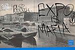 Milano30/10/2014  Vecchie foto dei Naviglio con scritte contro l'Expo 2015