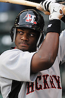 April 13, 2009: Outfielder Eric Frey (4) of the Hickory Crawdads, Class A South Atlantic League affiliate of the Texas Rangers, in a game against the Greenville Drive at Fluor Field at the West End in Greenville, S.C. Photo by: Tom Priddy/Four Seam Images