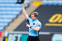27th March 2021; Ricoh Arena, Coventry, West Midlands, England; English Premiership Rugby, Wasps versus Sale Sharks; Referee Christophe Ridley shows Luke James of Sale Sharks a yellow card