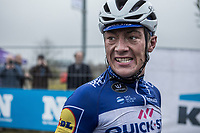 Yves Lampaert (BEL/Quick Step Floor) very happy after winning  73th Dwars Door Vlaanderen (1.UWT) for the 2nd time in a row! <br /> Congratulated by his teammates.<br /> <br /> <br /> 1day race: Roeselare › Waregem BEL (180km)