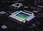 ARIEL VIEW OF FLOODLIT IBROX STADIUM SHOT AT DUSK, ROB CASEY PHOTOGRAPHY.