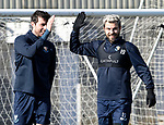 St Johnstone Training….15.03.19<br />Richard Foster pictured high-fiving Joe Shaughnessy during training this morning at McDiarmid Park ahead of tomorrow's game against St Mirren.<br />Copyright Perthshire Picture Agency<br />Tel: 01738 623350  Mobile: 07990 594431