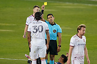 SAN JOSE, CA - OCTOBER 28: Referee Elton Garcia issues a yellow card to Marcelo Silva #30 of Real Salt Lake during a game between Real Salt Lake and San Jose Earthquakes at Earthquakes Stadium on October 28, 2020 in San Jose, California.