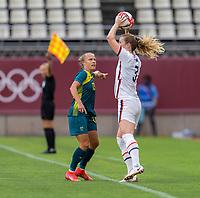 KASHIMA, JAPAN - JULY 27: Samantha Mewis #3 of the USWNT throws the ball in during a game between Australia and USWNT at Ibaraki Kashima Stadium on July 27, 2021 in Kashima, Japan.