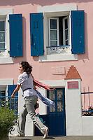 Europe/France/Bretagne/56/Morbihan/Belle-Ile: détail décoration extérieure d'une ancienne maison de pcheur