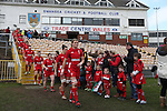 Wales captain Rachel Taylor leads the team out.<br /> 6 Nations Championship<br /> Wales v Ireland Women<br /> St Helens Swansea<br /> 15.03.15<br /> ©Steve Pope - SPORTINGWALES