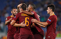 Calcio, Europa League: Roma vs Astra Giurgiu. Roma, stadio Olimpico, 29 settembre 2016.<br /> Roma's Kevin Strootman, back to camera, n. 6, celebrates with teammates after scoring during the Europa League Group E soccer match between Roma and Astra Giurgiu at Rome's Olympic stadium, 29 September 2016. Roma won 4-0.<br /> UPDATE IMAGES PRESS/Riccardo De Luca