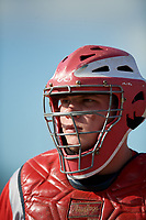 Williamsport Crosscutters catcher Mitchell Edwards (33) during a NY-Penn League game against the Batavia Muckdogs on August 25, 2019 at Dwyer Stadium in Batavia, New York.  Williamsport defeated Batavia 10-3.  (Mike Janes/Four Seam Images)