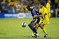 27 MAY 2009: #13 Cornell Glen of the San Jose Earthquakes and #24 Jed Zayner, Columbus Crew defender in action during the San Jose Earthquakes at Columbus Crew MLS game in Columbus, Ohio on May 27, 2009. The Columbus Crew defeated San Jose 2-1
