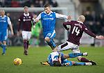 Hearts v St Johnstone…03.02.18…  Tynecastle…  SPFL<br />David Wotherspoon wins the ball after Richie Foster is floored by Steven Naismith<br />Picture by Graeme Hart. <br />Copyright Perthshire Picture Agency<br />Tel: 01738 623350  Mobile: 07990 594431