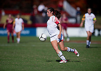 Erika Nelson (15) of Maryland keeps an eye on the ball during the game at Ludwing Field in College Park, MD.  Florida State defeated Maryland, 1-0.