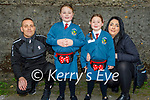 Lana Buckley from Tralee on her first day at Junior Infants in Scoil Eoin Balloonagh on Wednesday. L to r: Joe, Aimee and Lana Buckley and Michelle McCrohan.