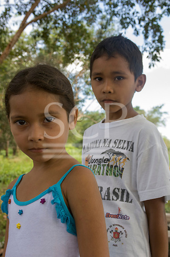 Para State, Brazil. Two caboclo children from the poor rural settler community of São Domingos, in the Tapajos National Forest Park.