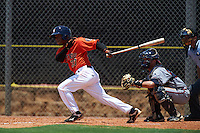 GCL Astros shortstop Rodrigo Ayarza (37) at bat in front of catcher Collin Yelich during a game against the GCL Braves on July 23, 2015 at the Osceola County Stadium Complex in Kissimmee, Florida.  GCL Braves defeated GCL Astros 4-2.  (Mike Janes/Four Seam Images)