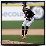 Noah Lind (13) of the T.L Hanna High School Yellow Jackets jumps and shouts after securing the final out in a 4-3 win over the Greer High School Yellow Jackets on Saturday, March 20, 2021, at Fluor Field at the West End in Greenville, South Carolina. (Tom Priddy/Four Seam Images)