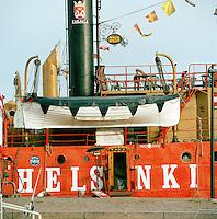 Colorful boat docked, Helsinki, Finland