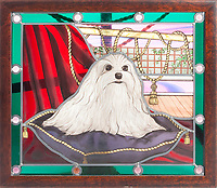 BNPS.co.uk (01202 558833)<br /> Pic: Juliens/BNPS<br /> <br /> Stained glass portrait of Taylors Maltese dog Sugar - Gifted from Carrie Fisher - £600.<br /> <br /> A spectacular collection of over 1,000 items charting Elizabeth Taylor's life including her iconic outfits are up for sale for over £1million. ($1.25million)<br /> <br /> Dozens of designer gowns, fur coats and capes are being auctioned by the trustees of the estate of the late English actress.<br /> <br /> Also going under the hammer are the Hollywood icon's stylish wigs, scarves, shoes and jewellery.<br /> <br /> Items of her lavish furniture from her luxury homes across the world, right down to her personalised salt and pepper shaker, are included.