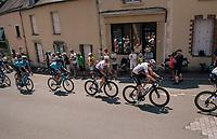 Chris Froome (GBR/SKY) in the peloton, rolling through the town of  Réaumur<br /> <br /> Stage 2: Mouilleron-Saint-Germain > La Roche-sur-Yon (183km)<br /> <br /> Le Grand Départ 2018<br /> 105th Tour de France 2018<br /> ©kramon