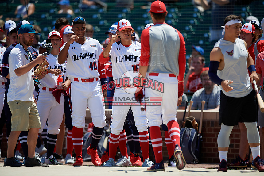 Daniel Susac during the home run derby before the Under Armour All-America Game, powered by Baseball Factory, on July 22, 2019 at Wrigley Field in Chicago, Illinois.  Daniel Susac attends Jesuit Sacramento High School in Carmichael, California and is committed to the University of Arizona.  (Mike Janes/Four Seam Images)