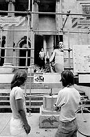 July 8, 1976 -  Montreal. Quebec , Canada  - CORRIDART an exhibit of 18 pieces of art installed for the olympics, <br /> on Sherbrooke street near Saint-Urbain, before beeing torned down on the night of July 13 to 14, 1976, on order from Montreal Mayor Jean Drapeau<br /> <br /> ORIGINAL CAPTION : Veritable miroir de la rue et des gens, le corridart de seploie sur une distance de 5 miles des rues Atwater a Pie-IX dans l'atere de la rue Sherbrooke (Photo : Alain Renaud)