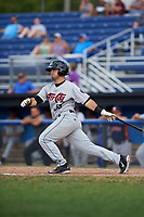 Tri-City ValleyCats second baseman Kyle Davis (25) bats during a game against the Batavia Muckdogs on July 16, 2017 at Dwyer Stadium in Batavia, New York.  Tri-City defeated Batavia 13-8.  (Mike Janes/Four Seam Images)